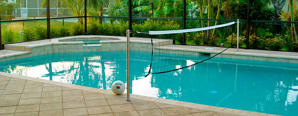 Pool volleyball kits swimming pool products for Pool design for volleyball
